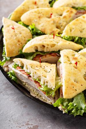 Tray of turkey sandwiches