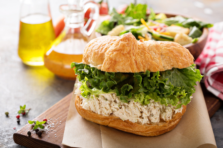 Chicken salad sandwich with lettuce 스톡 콘텐츠