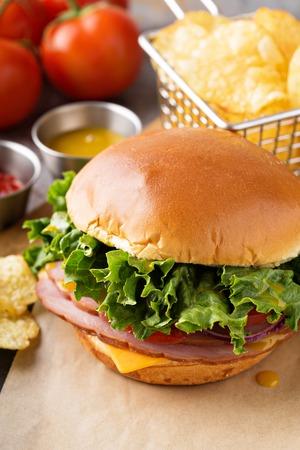 Sandwich au jambon au fromage américain Banque d'images - 98985208