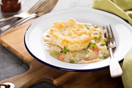Chicken pot pie with a biscuit on top 스톡 콘텐츠