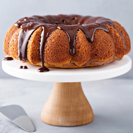 Vanilla bundt cake with chocolate glaze Stock Photo