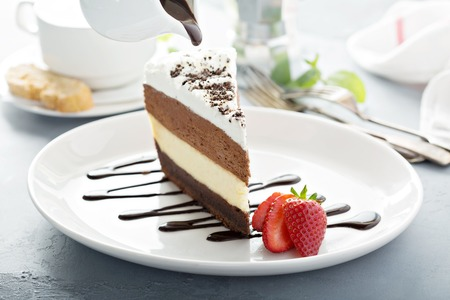 Three chocolate layered mousse cake