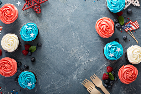 American flag cupcakes for 4th of July Stock Photo