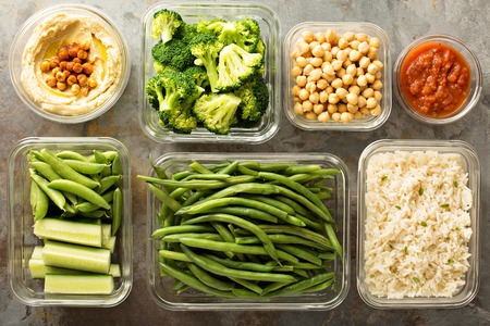 Vegan meal prep with cooked rice