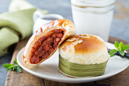 Savory chinese pastries with red bean filling