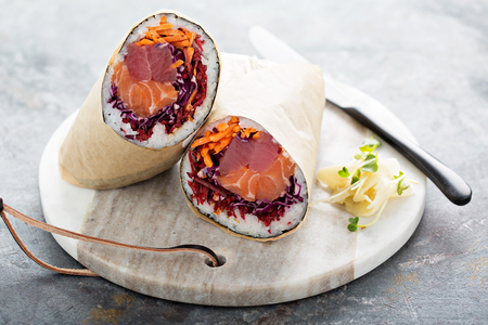 Sushi burrito with ginger Stock Photo