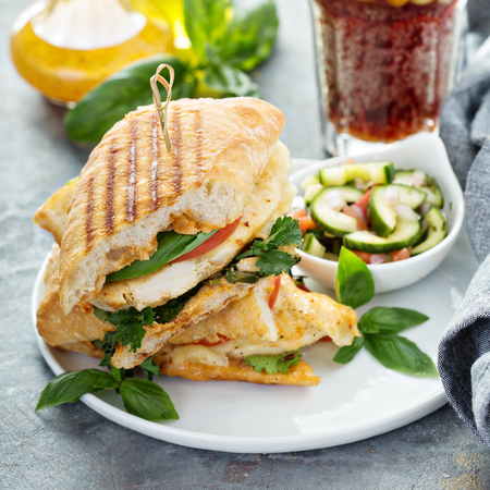 Grilled panini sandwich with chicken and cheese