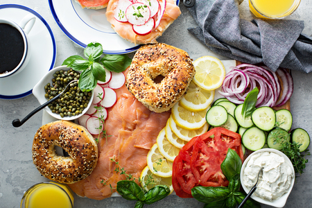 Bagels and lox platter
