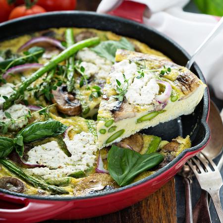 Asparagus, mushrooms and goat cheese frittata