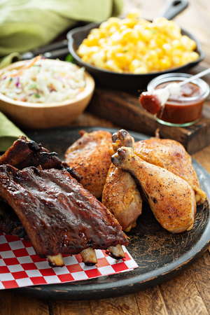 Grilled or smoked ribs and chicken