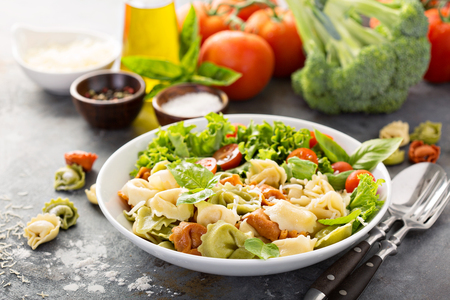 Rainbow tortellini with fresh salad