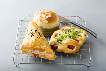 Savory red bean, pork and green onion pastries