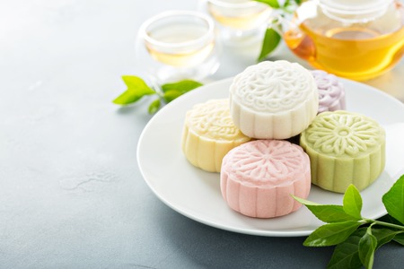Snow skin sweet and savory traditional Chinese mooncakes