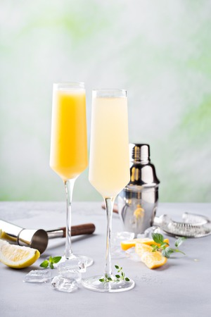 Breakfast mimosa cocktails