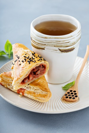 Red bean puff pastry with green tea
