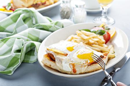 Sunny side up egg sandwich Stock Photo