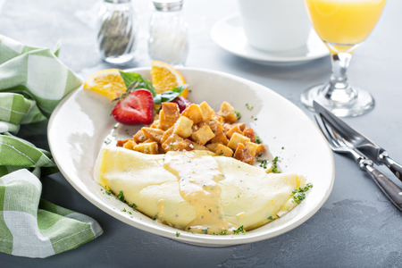 Crab omelette with potatoes for breakfast