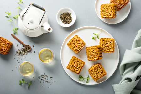 Traditional Chinese mooncakes 스톡 콘텐츠