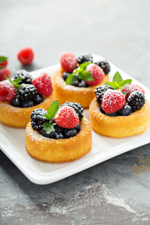 Dessert cups with fresh berries