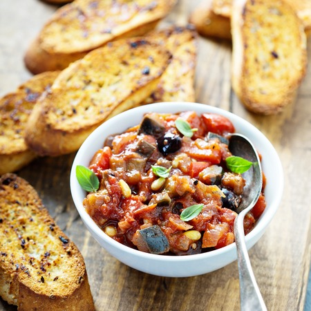 Eggplant caponata with garlic bread