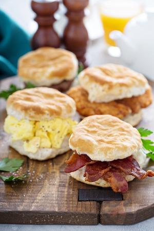 Breakfast biscuits with soft scrambled eggs and bacon
