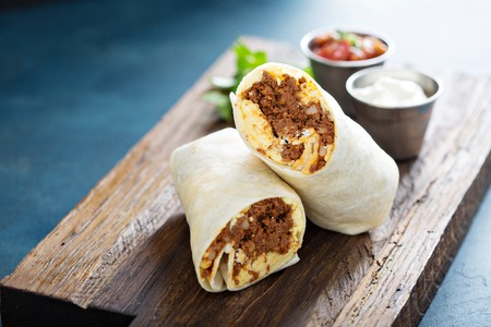 Breakfast burrito with chorizo and egg 스톡 콘텐츠