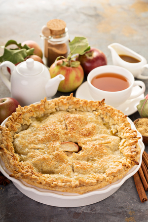 Apple pie with leaves cut outs