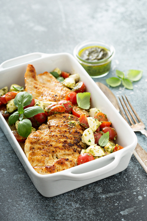 Grilled chicken with caprese