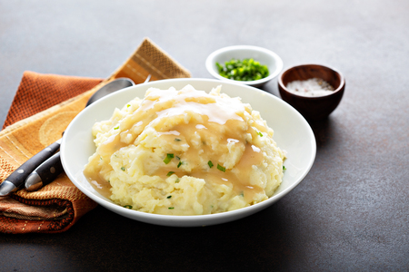 Mashed potatoes with gravy for Thanksgiving or Christmas