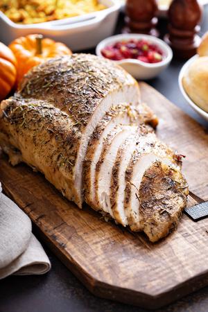 Roasted turkey breast sliced