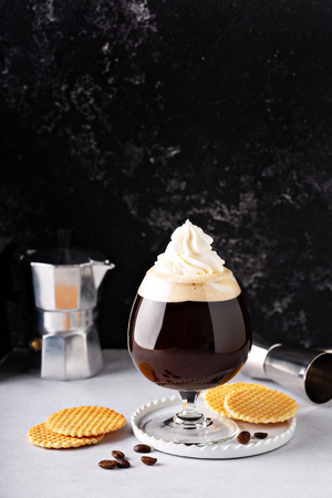 Irish coffee in a glass