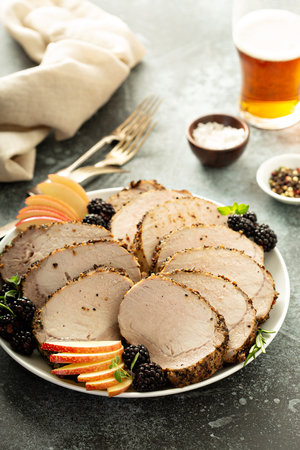Roasted pork loin with dry rub Foto de archivo - 110714411