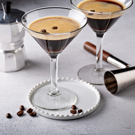 Espresso martini in two glasses