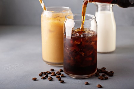 Cold brew iced coffee in glass bottles
