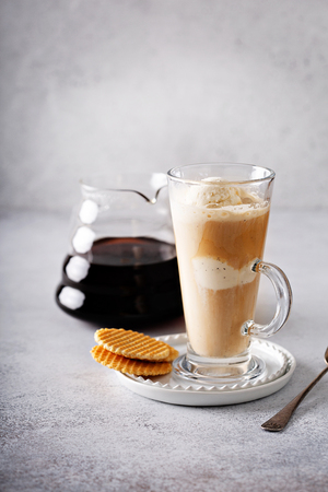 Affogato coffee in tall glass