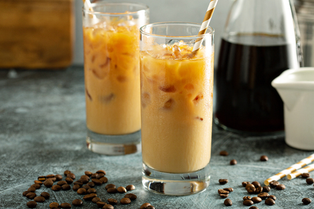 Cold brew iced coffee in tall glasses 스톡 콘텐츠