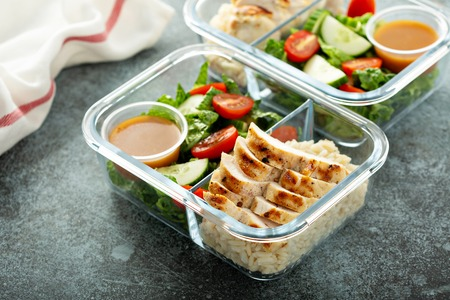 Meal prep containers with grilled chicken