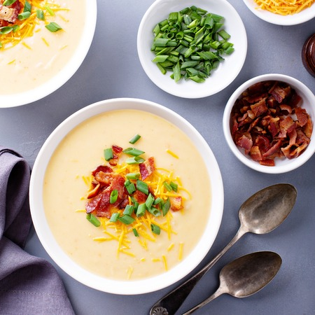 Potato soup with bacon and cheese