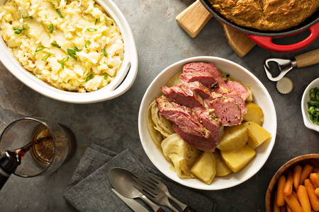 Irish dinner with corned beef, colcannon and soda bread Stock Photo