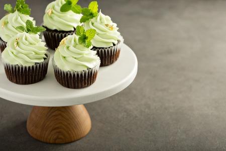 Schoko-Minz-Cupcakes Standard-Bild