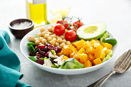 Vegan lunch bowl with chickpeas and roasted squash