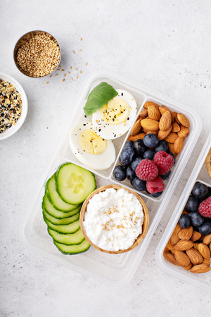 Lunch or snack box with high protein food