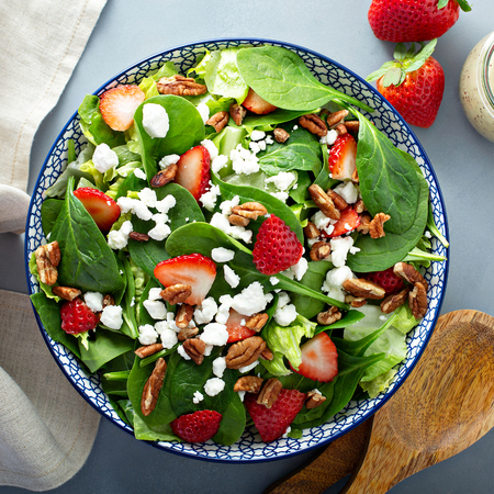 Fresh strawberries and goat cheese salad