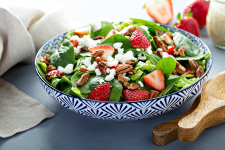 Fresh strawberries and goat cheese salad