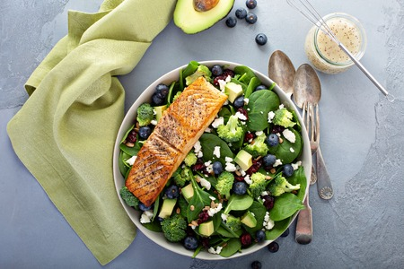 Fresh spinach and feta salad with salmon