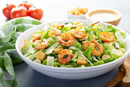 Homemade caesar salad with shrimp