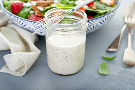 Homemade ranch dressing in a glass jar