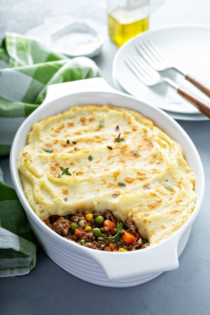 Shepherds pie with ground meat and potatoes