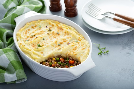 Shepherds pie with ground meat and potatoes Stock Photo - 118570900