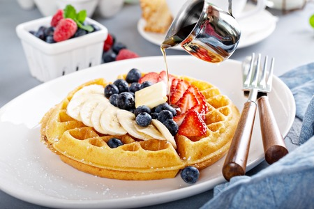 Waffle with fresh fruit
